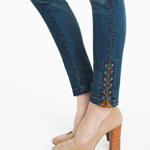WHBM Lace Up Skimmer Jeans Sz 8P Skinny Ankle